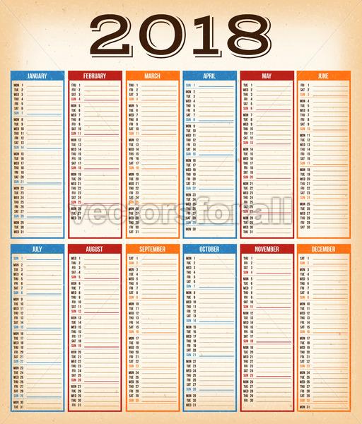 February 2018 Calendar Vintage : Vectorsforall royalty free vectors