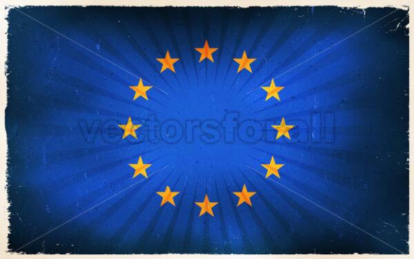 Vintage European Union Flag Poster Background - Vectorsforall