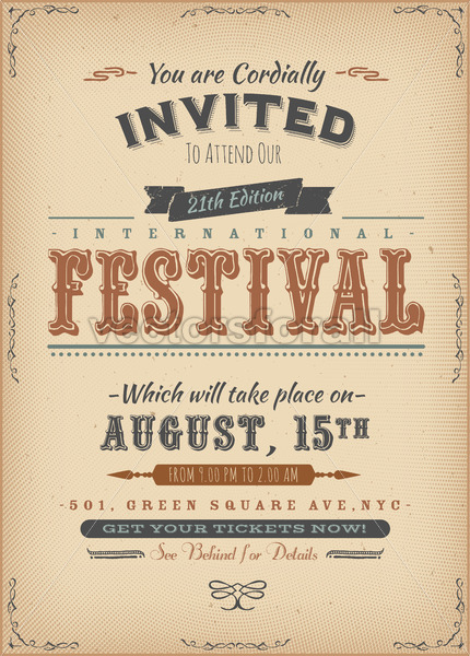 Vintage Festival Invitation Poster - Vectorsforall