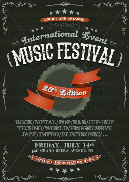 Vintage Festival Invitation Poster On Chalkboard - Vectorsforall
