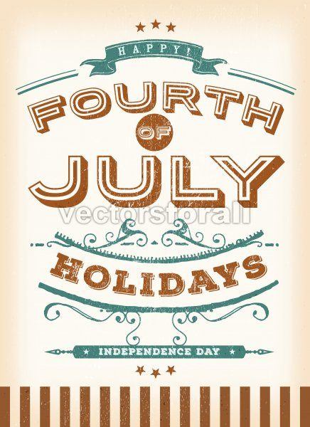 Vintage Fourth Of July Holidays - Vectorsforall