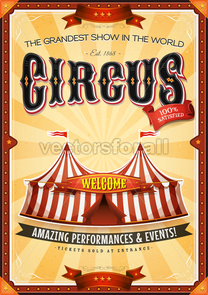 Vintage Grand Circus Poster With Marquee - Vectorsforall
