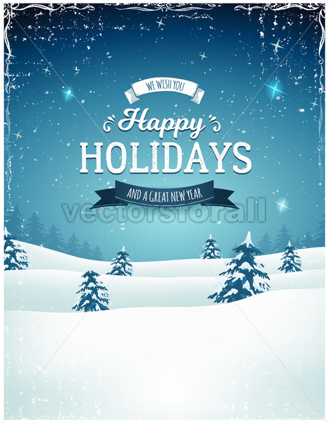 Vintage Holiday Season Landscape Background - Vectorsforall