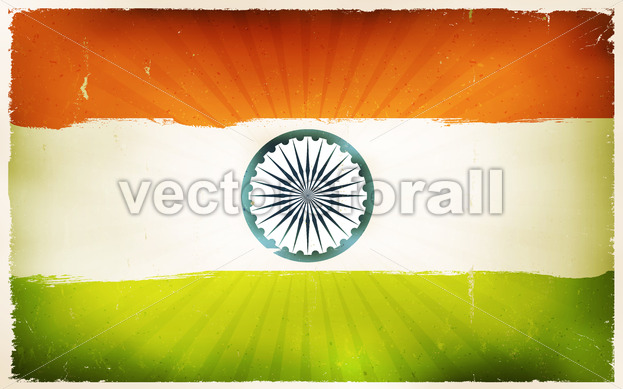 Vintage India Flag Poster Background - Vectorsforall