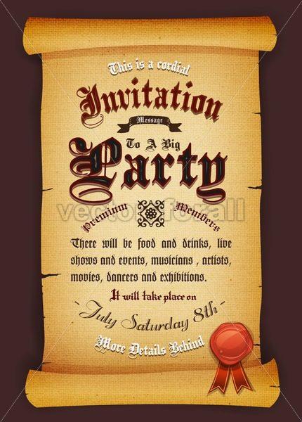 Vintage Invitation On Parchment - Vectorsforall