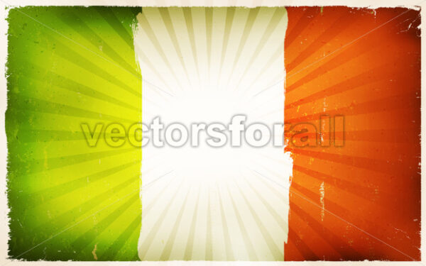 Vintage Irish Flag Poster Background - Vectorsforall