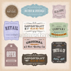 Vintage Labels Ans Signs - Vectorsforall