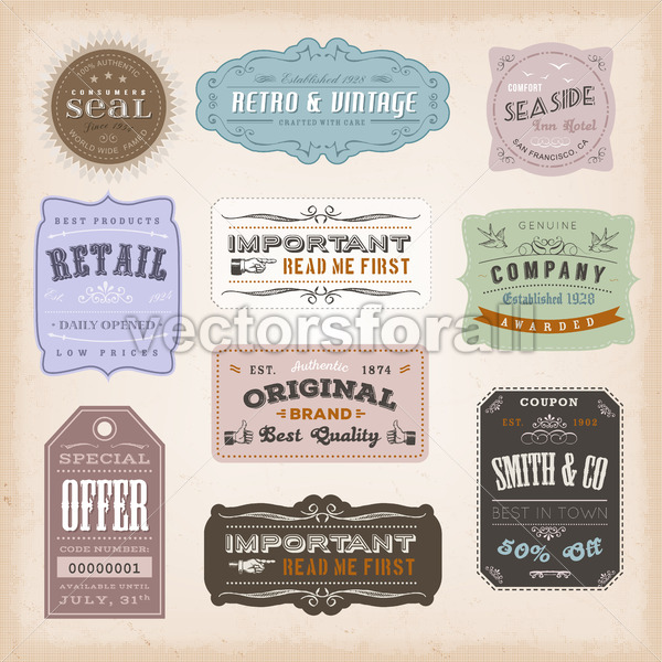Vintage Labels Ans Signs - Vectorsforall
