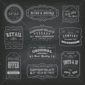 Vintage Labels Ans Signs On Blackboard - Vectorsforall