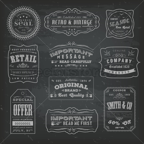 Vintage Labels Ans Signs On Blackboard - Vectorsforall