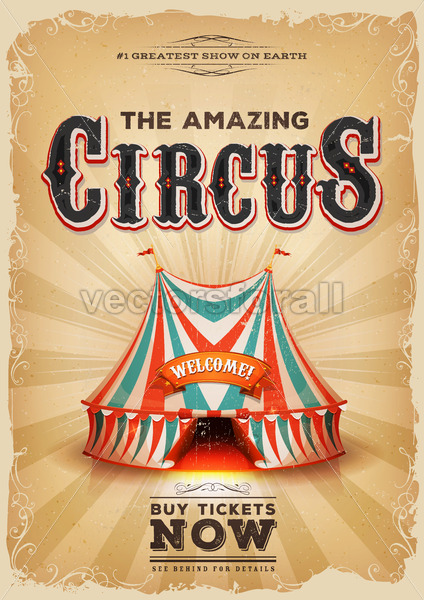 Vintage Old Circus Poster With Red And Blue Big Top - Vectorsforall