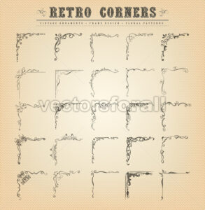Vintage Old-Fashioned Corners, Borders And Frames - Vectorsforall