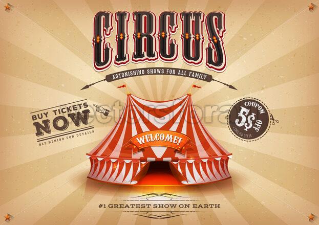 Vintage Old Horizontal Circus Poster - Vectorsforall