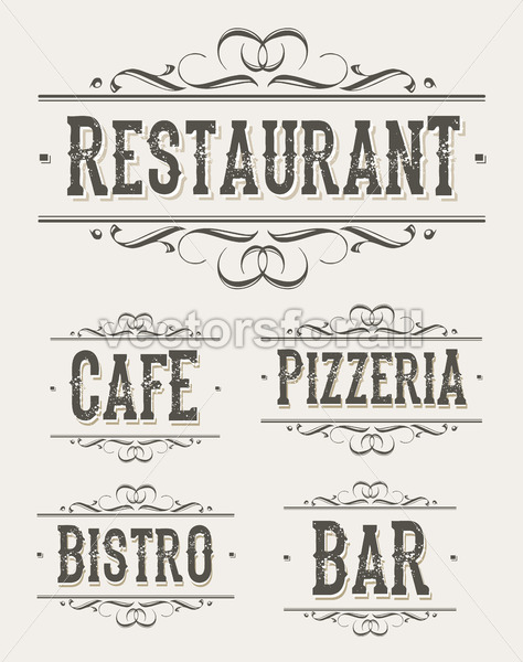 Vintage Restaurant And Pizzeria Banners - Vectorsforall