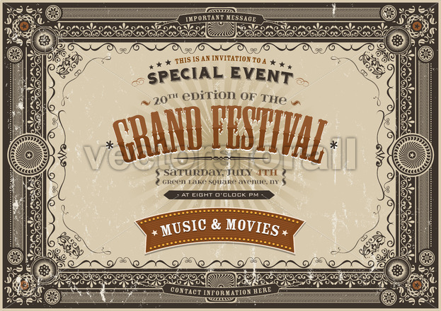 Vintage Retro Festival Poster Background - Vectorsforall