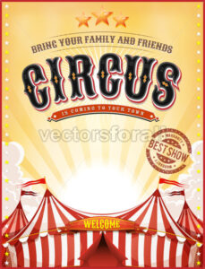 Vintage Summer Circus Poster With Big Top - Vectorsforall