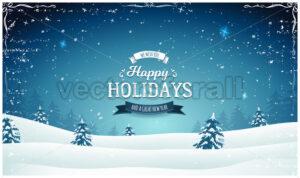 Vintage Wide Christmas Landscape - Vectorsforall