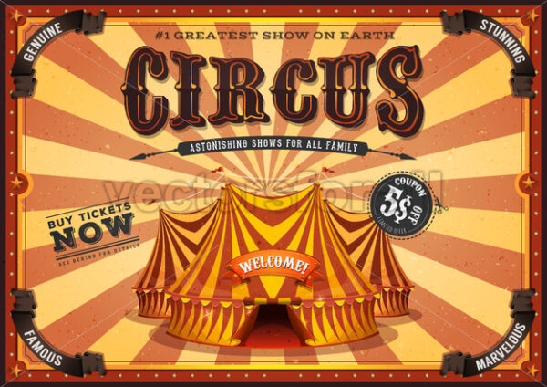 Vintage Yellow Circus Poster With Big Top - Vectorsforall