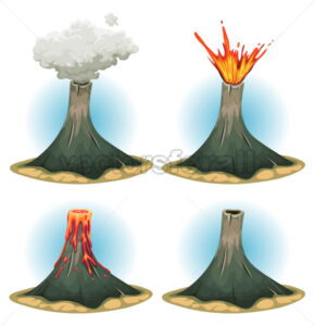 Volcano Mountains Set - Vectorsforall