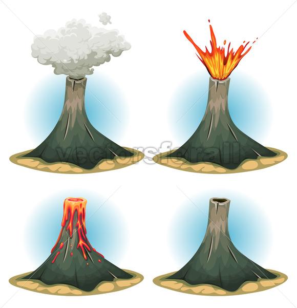 Volcano Mountains Set - Vectorsforall