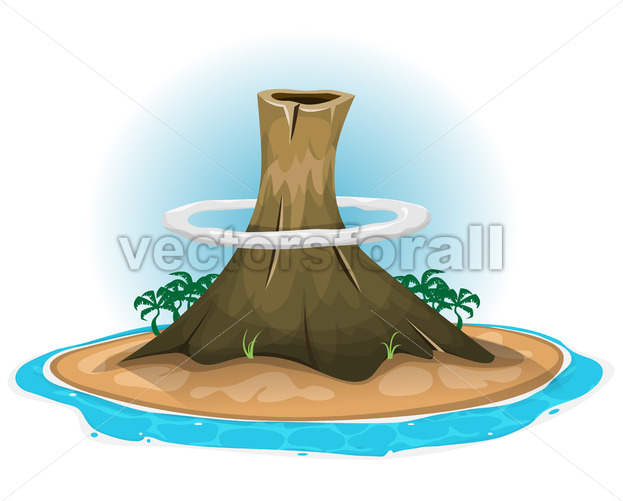Volcano On Desert Island - Vectorsforall