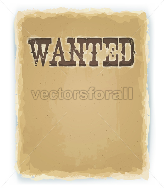 Wanted Poster On Vintage Background - Vectorsforall