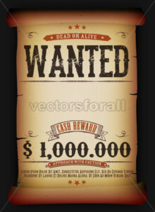 Wanted Vintage Poster On Old Parchment - Vectorsforall