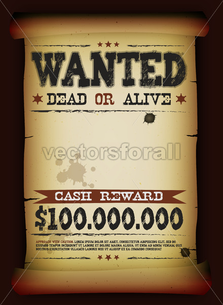 Wanted Vintage Poster On Parchment - Vectorsforall
