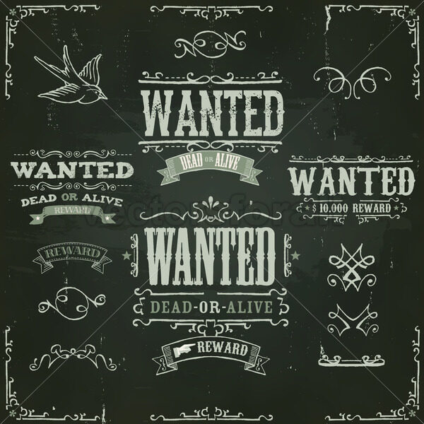 Wanted Vintage Western Banners On Chalkboard - Vectorsforall