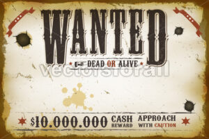 Wanted Vintage Western Poster - Vectorsforall