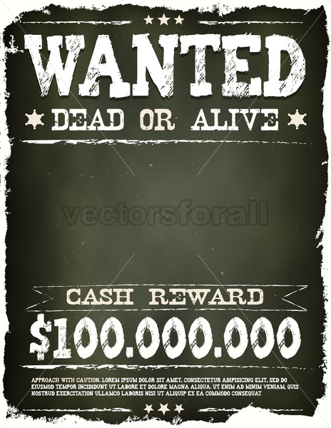 Wanted Vintage Western Poster On Chalkboard - Vectorsforall