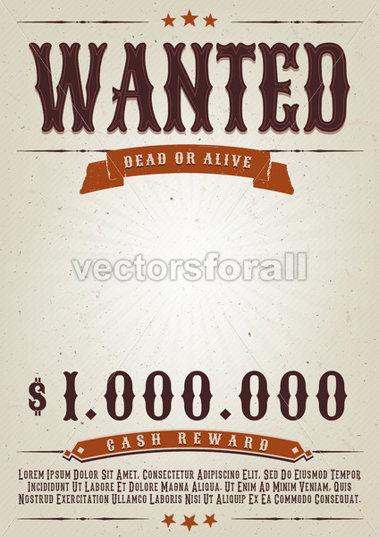 Wanted Western Movie Poster - Vectorsforall