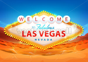 Welcome To Las Vegas Sign On Desert Background - Vectorsforall