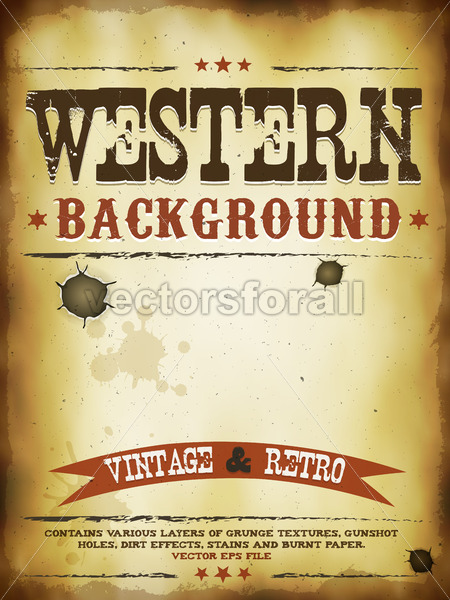 Western Grunge Poster - Vectorsforall