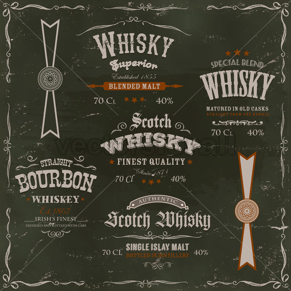 Whisky Labels And Seals On Chalkboard Background - Vectorsforall
