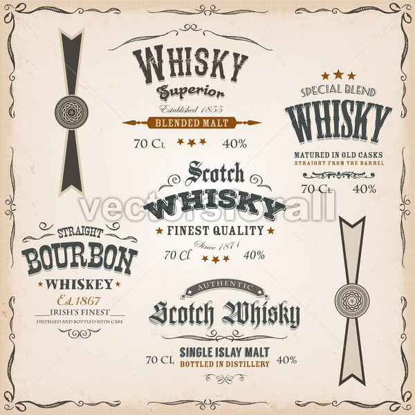 Whisky Labels And Seals On Vintage Background - Vectorsforall