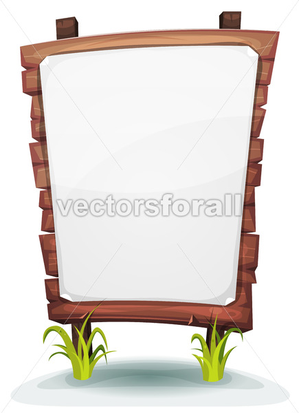 White Paper Sign On Wood Panel - Vectorsforall