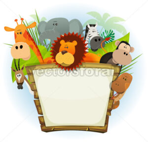 Wild Animals Zoo Wood Sign - Vectorsforall