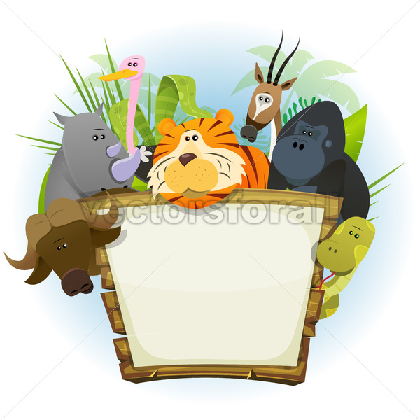 Wild Animals Zoo Wood Sign - Vectorsforall