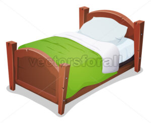 Wood Bed With Green Blanket - Vectorsforall