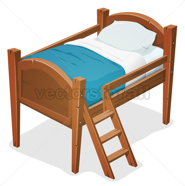 Wood Bed With Ladder - Vectorsforall