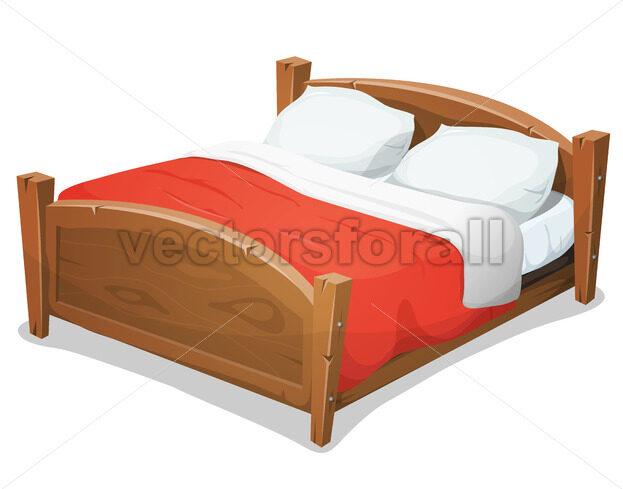 Wood Double Bed With Red Blanket - Vectorsforall