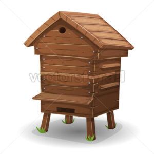 Wood Hive For Bees - Vectorsforall