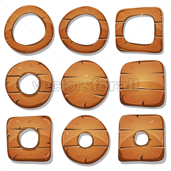 Wood Rings, Circles And Shapes For Ui Game - Vectorsforall