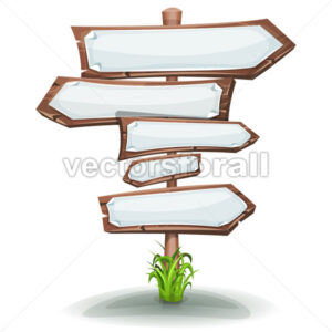 Wood Road Signs Arrows With Blank Paper Signs - Vectorsforall