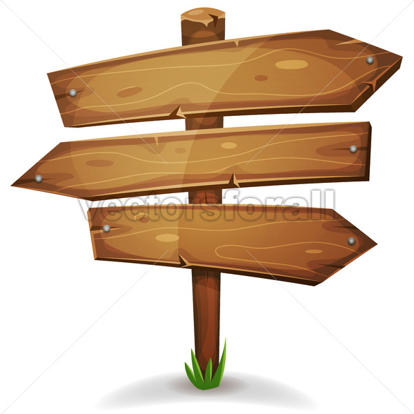 Wood Stake With Direction Signs Arrows - Vectorsforall
