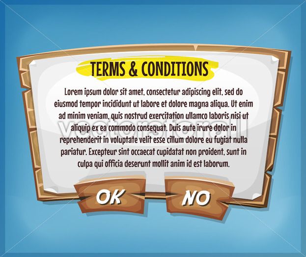 Wood Terms And Conditions Agreement Panel For Ui Game - Vectorsforall