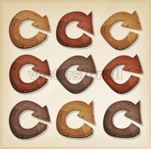 Wooden Refresh Arrows Icons For Ui Game - Vectorsforall
