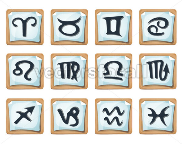 Zodiac Signs And Icons Set - Vectorsforall