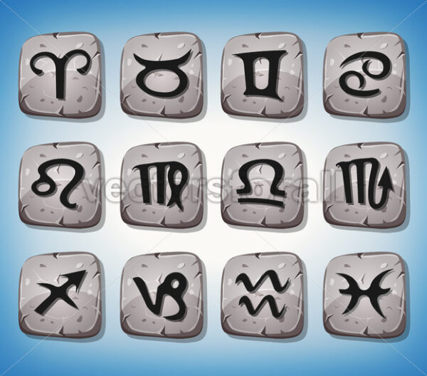 Zodiac Signs And Icons Set On Rocks - Vectorsforall